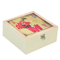 """Шкатулка для чая """"Red Flowers"""" HL132, размеры 8x17 см, на 4 отделения, дерево, чайный бокс, коробка для чайных"""