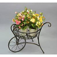 Подставка под цветы HX08015, материал - металл, размер - 30*30*36 см, изделия из ротанга и металла, декор для