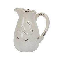 """Кувшин керамический для напитков """"Butterfly"""" ZG173, размер 21х15 см, бежевый, кувшин для воды, кувшин для молока, кувшин для жидкостей"""