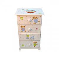 Детский комод для хранения вещей Meliosma разные цвета, 40х28х65см, на 4 ящика, комод детский, комод для вещей, фото 1