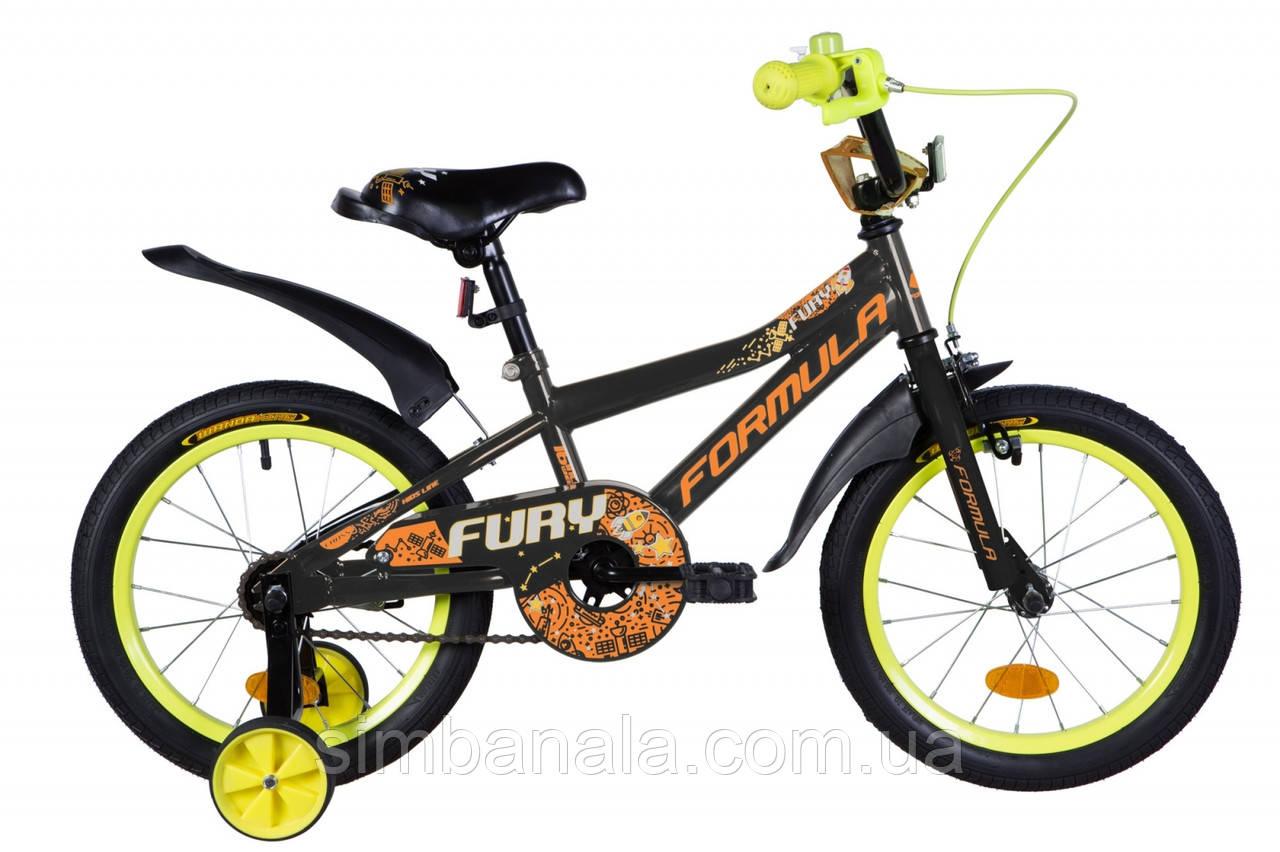 """Детский велосипед 16"""" Formula FURY 2020(черно-оранжевый )"""