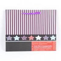 Подарочный бумажный пакет Gagea полосатый с разноцветными звездами, подарочный пакет, бумажный пакет для