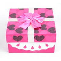 Подарочная упаковка Freesia комплект из 4шт, розовая в сердечко, картон, подарочная коробка, комплект