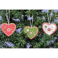 """Набор подвесок на елку """"Сердце"""" KSN306, 22*8*2 см, дерево, из 9 шт, Новогодние сувениры, Украшения новогодние, Игрушки на елку"""
