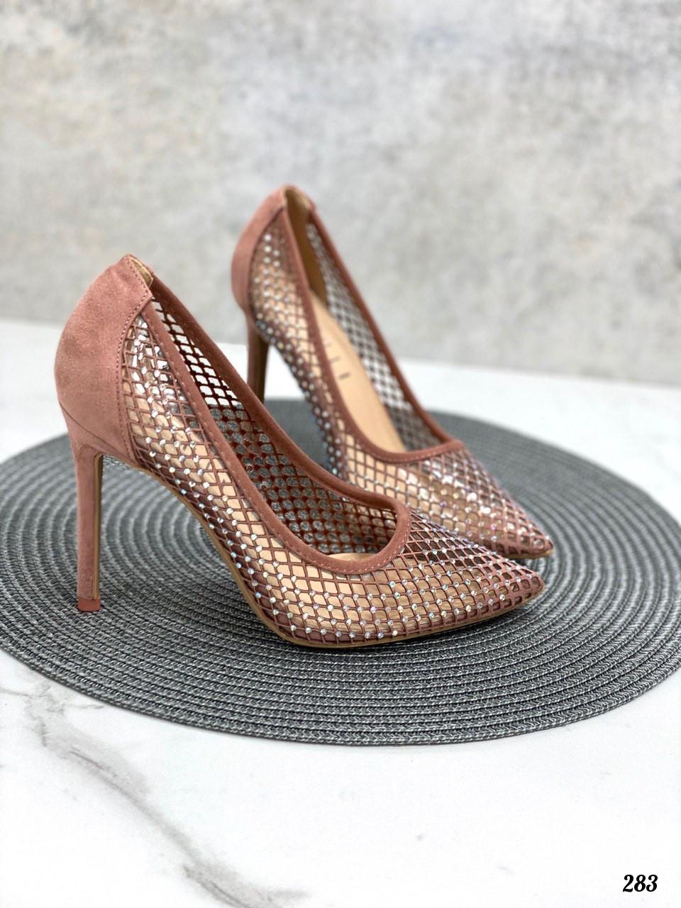 Туфли женские розовые / пудровые со стразами эко-замш+ силикон на каблуке 10 см