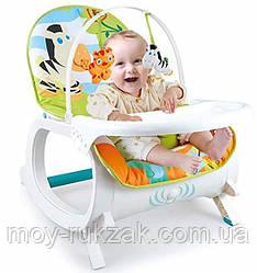 Детский шезлонг-качалка 3в1 Зебра, музыкальный, дуга с подвесками, съемный столик, 87× 46 × 64 см, 7188