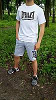 """Размер L  Мужской комплект футболка + шорты Everlast белого и серого цвета """""""" В стиле Everlast """""""""""