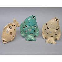 "Фигурка - подсвечник декоративная для интерьера ""Рыба"" YQ58706, керамика, 3 вида, 20х15 см, статуэтка декоративная, керамическая фигурка"