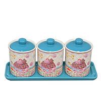 """Набор банок для хранения сыпучих продуктов """"Sweet"""" YX345, с подставкой, в комплекте 3 банки, 2 вида, керамика, комплект для сыпучих"""