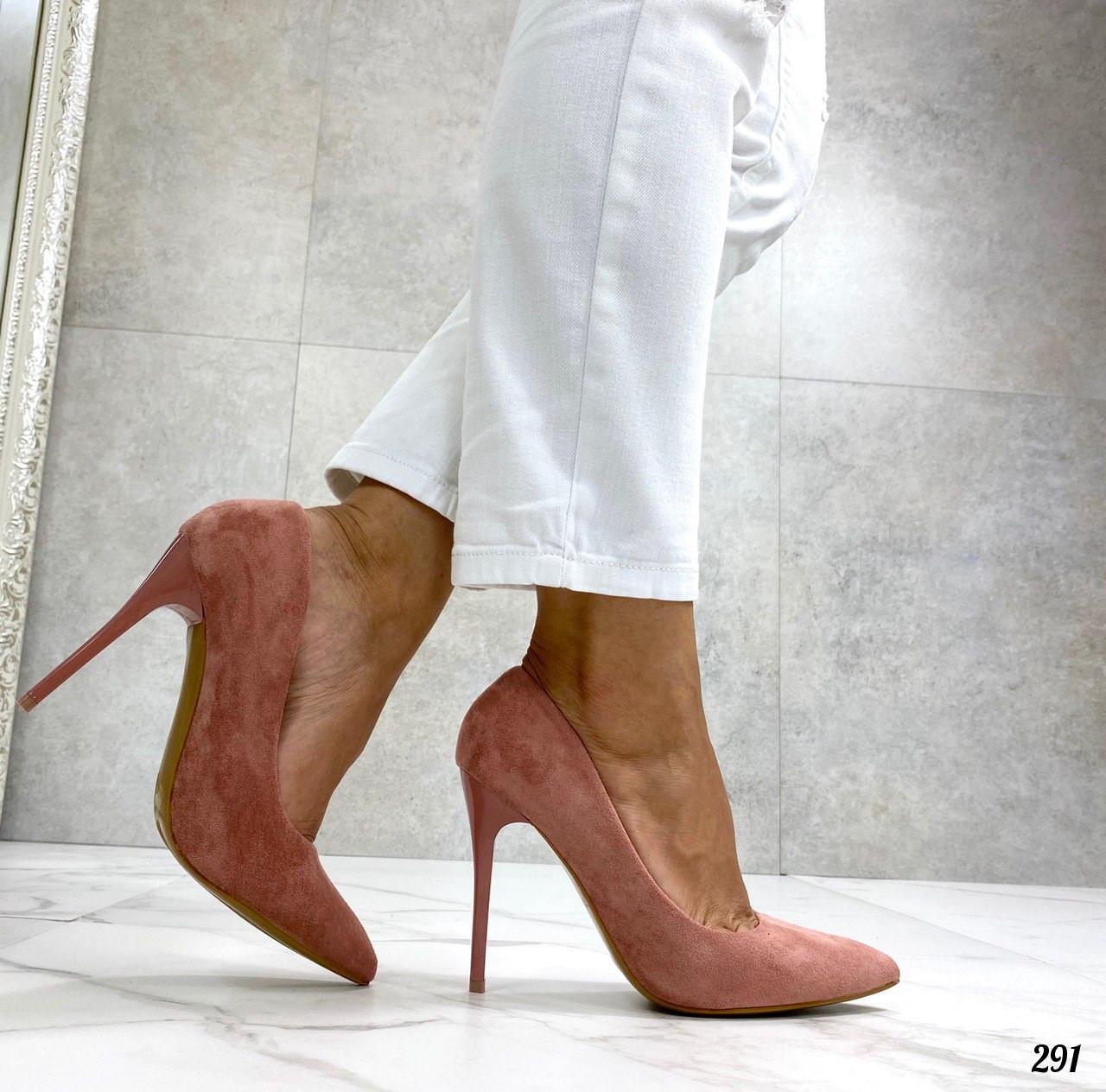 Женские туфли-лодочки розовые - пудровые на каблуке 10 см эко замш