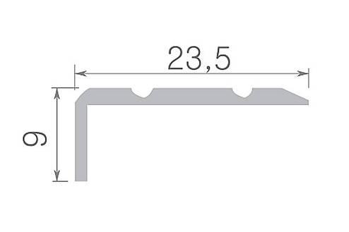 Алюминиевый профиль арт. 316 03 / золото 23,5х9х1800 мм, фото 2