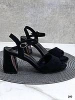 Босоножки женские черные на каблуке 8 см эко- замш, фото 1
