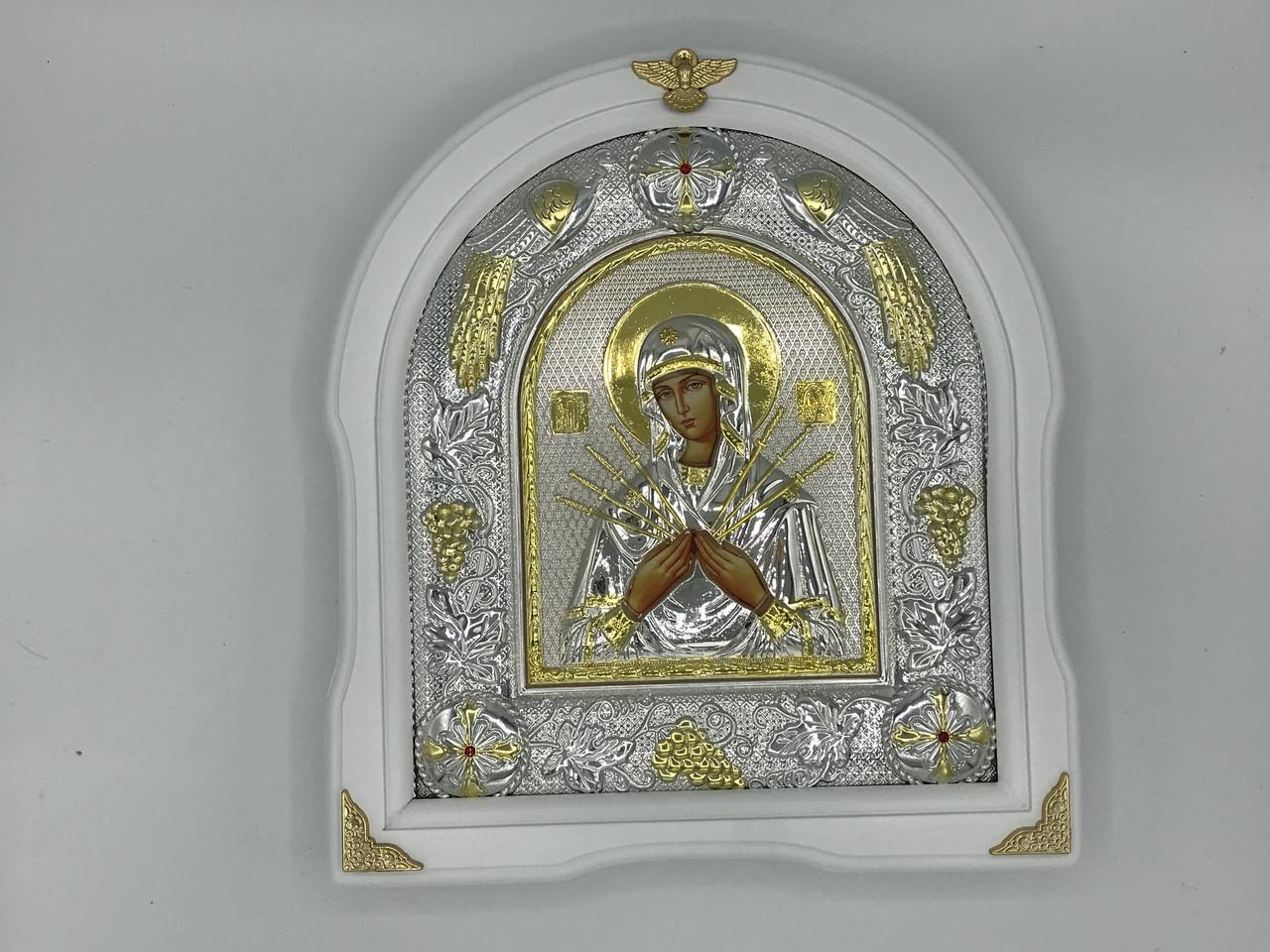 Икона Божьей Матери в белой рамке