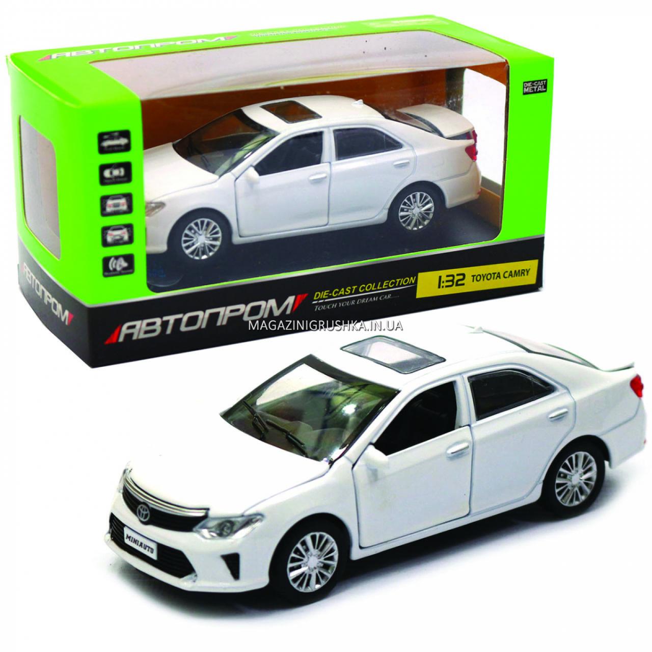 Машинка игровая автопром «Toyota Camry» Тойота, белая, металл, 14 см, (свет, звук, двери открываются) 7814