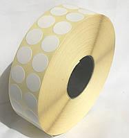 Этикетка кружечек 15 мм диаметр (10000 шт) полуглянец белая