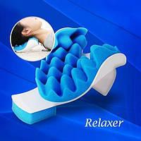 Масажна подушка для полегшення болю в шиї Pillow blue губка/пластик, розмір 21,5х16х12,5см, синій, Релаксатор