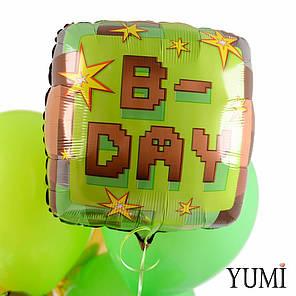 Связка шаров Майнкрафт Happy Birthday, фото 2