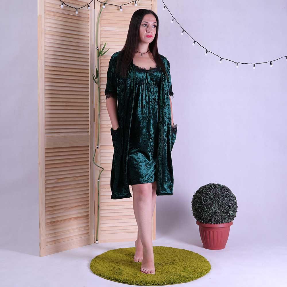Женский велюровый халат с ночной р. 42-50 (S-L)