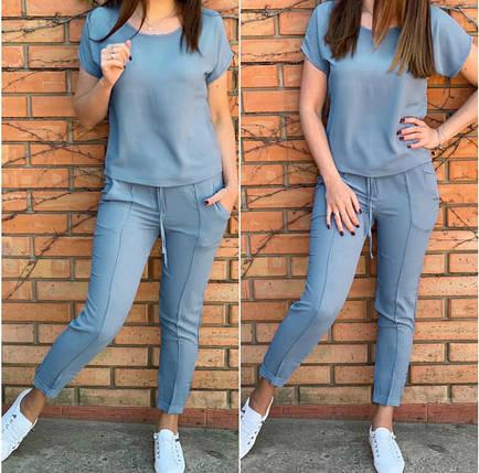 Серый Костюм женские летний трикотажный двойка футболка и укороченные брюки, фото 2