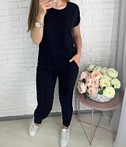 Серый Костюм женские летний трикотажный двойка футболка и укороченные брюки, фото 3