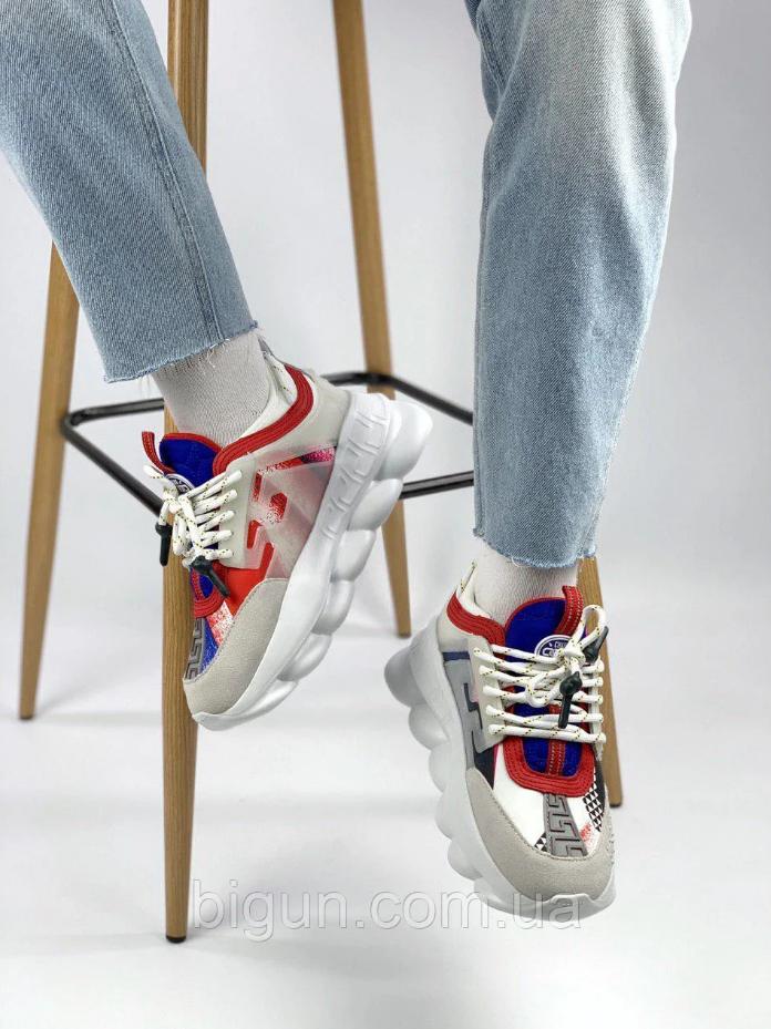 Кроссовки женские Versace Chain Reaction Chainz White в стиле версаче белые (Реплика ААА+)