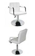 Кресло парикмахерское Артур, экокожа белого цвета, пневматика