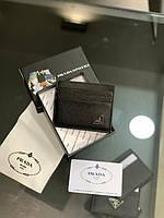Визитница мужская женская Prada черная Картхолдер кожаный Прада кожаный Мини кошелек Prada с коробкой