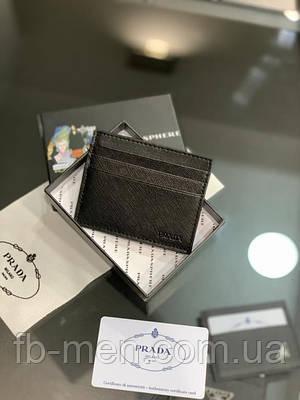 Визитница Prada черная квадратная  Мужской женский картхолдер Прада кожаный  Кредитница Prada для карт и денег