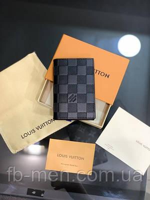 Визитница мужская женская Louis Vuitton черная шашка  Картхолдер Louis Vuitton кожаный   Кредитница Луи Виттон