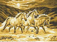 Коні в променях сонця. Схема повної вишивки бісером
