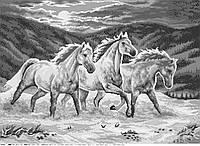 Коні у світлі місяця (монохром). Схема повної вишивки бісером