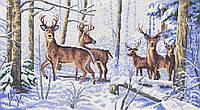 Олені в зимовому лісі. Схема повної вишивки бісером
