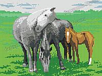Лошади. Схема полной вышивки бисером