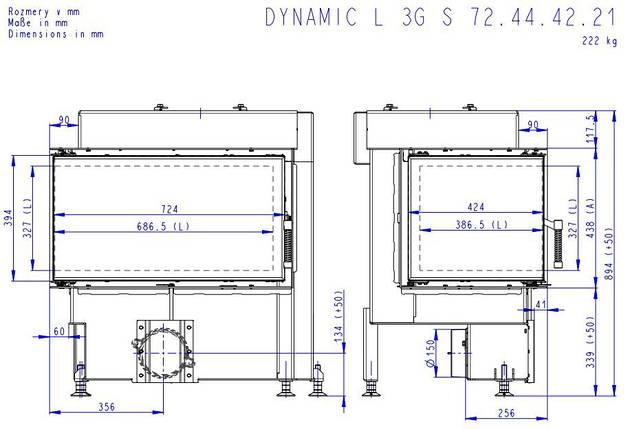 Каминная топка ROMOTOP Dynamic L 3g S 72.44.42.21 угловая левая, двойное стекло, фото 2