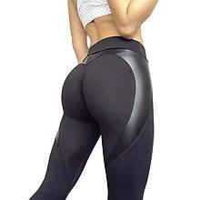 Леггинсы Sportmix для спорта черные вставка Сердце в наличии размер S, L