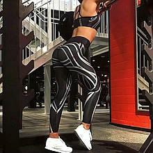 Леггинсы Sportmix спортивные черные принт полосы в наличии размер L