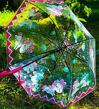 Зонт трость детский для девочки полуавтомат прозрачный Mario с рисунком «Единорог» на 4-7 лет. Детский зонтик., фото 3
