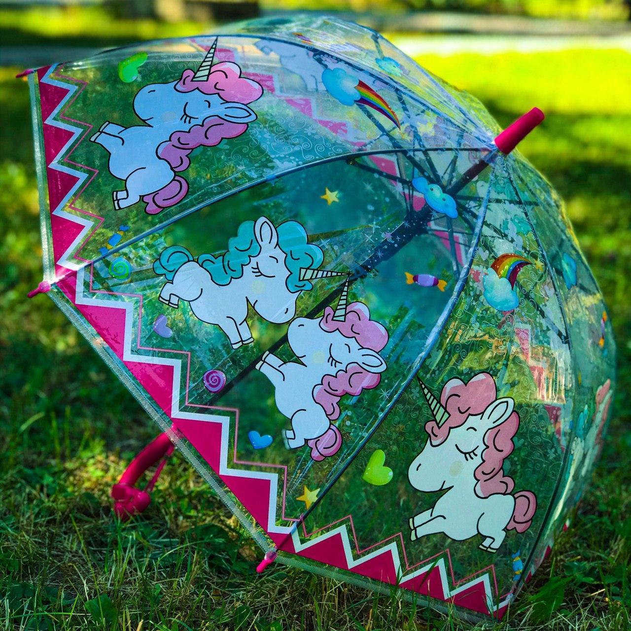 Зонт трость детский для девочки полуавтомат прозрачный Mario с рисунком «Единорог» на 4-7 лет. Детский зонтик.