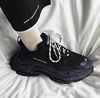 Мужские кроссовки Balenciaga Triple S в стиле Баленсиага ЧЕРНЫЕ многослойная подошва (Реплика ААА+)