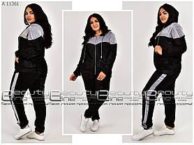 Женский спортивный велюровый костюм с капюшоном большого размера 52.54.56.58.60.62.64.66.68