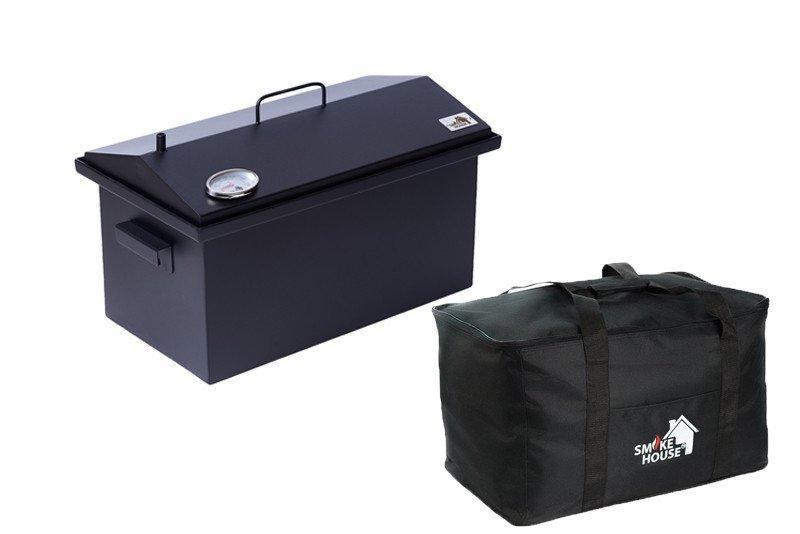 Коптильня Крышка Домиком 520х300х310 с термометром окрашенная с сумкой