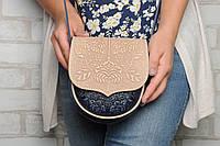 Кожаная женская сумка, сумка через плечо, мини сумочка, бежево-синяя, фото 1