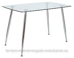 Стол стеклянный Итали, 70*120*75h, Хром, стекло прозрачное, Richman