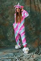 Пижама детская кигуруми на змейке единорог опт, дроп, розница