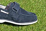 Детские туфли мокасины на липучке для мальчика замша синие р32 - 37, фото 8