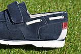 Детские туфли мокасины на липучке для мальчика замша синие р32 - 37, фото 4