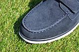 Детские туфли мокасины на липучке для мальчика замша синие р32 - 37, фото 7