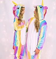 Пижама детская кигуруми радужный  единорог опт, дроп, розница 100 (90-105)