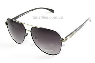 Мужские очки авиаторы Bvlgari Черные с градиентом AAA Copy