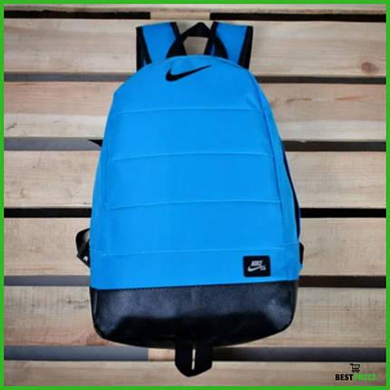 Рюкзак Nike Air, найк аир. Топ качество. Голубой с черным дном. А4, фото 2